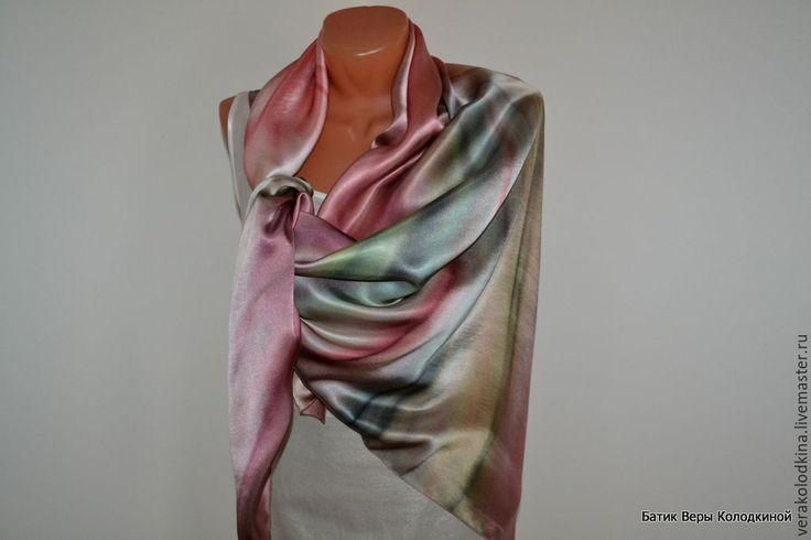 """Купить Платок натуральный шелк """"Путешественница"""" атласный шёлковый - комбинированный, абстрактный, купить платок"""