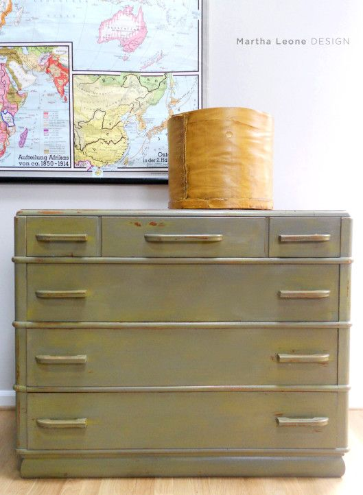 Layered Green Chest of Drawers -was cherry before painting