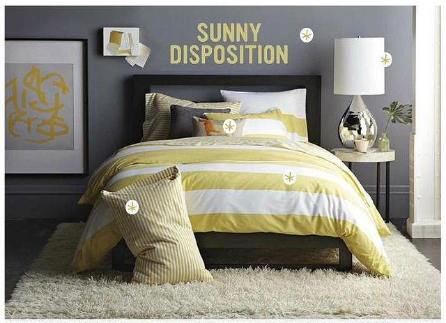 I love this gray...oh and yellow stripey goodness!  Gray + yellow bedroom: Benjamin Moore 'Shadow Gray' in West Elm by xJavierx, via Flickr