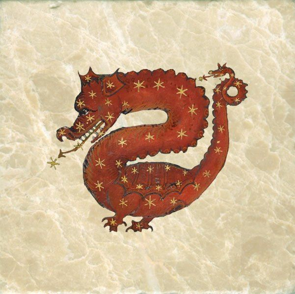Happy Thursday from this #happy #dragon.  Ptolemy Almagest Draco Constellation, 1690 - Dragon tiles by William Morris Tile