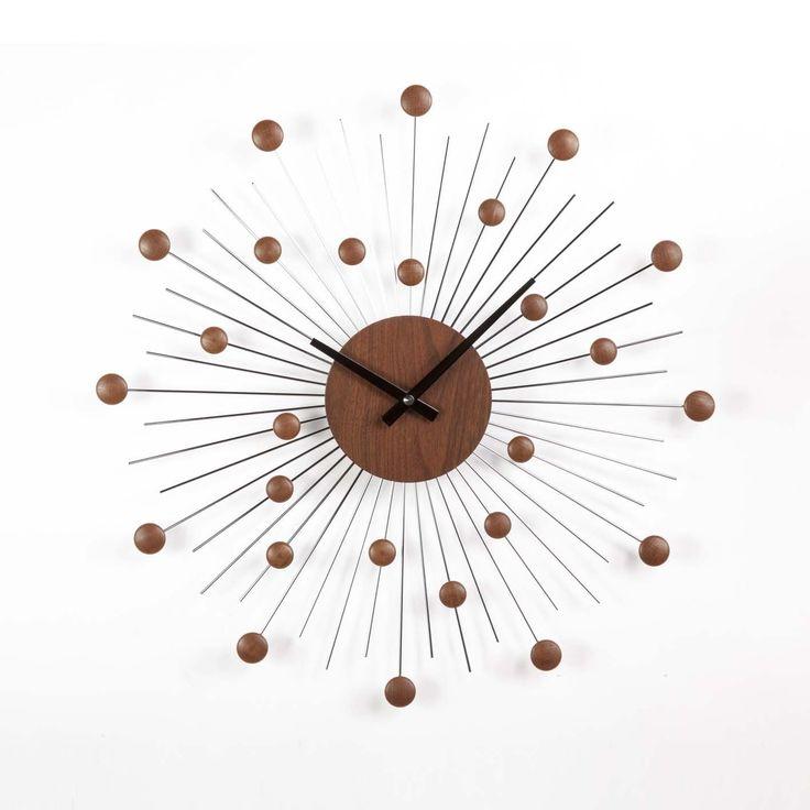 Stilnovo G121019 Mid Century Star Clock in Wood/Silver