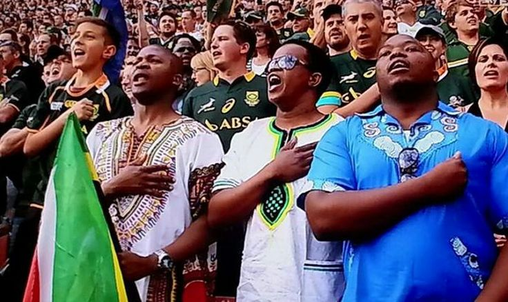 Singing South African Anthem at Ellispark Springboks / All Blacks 4.10.2014