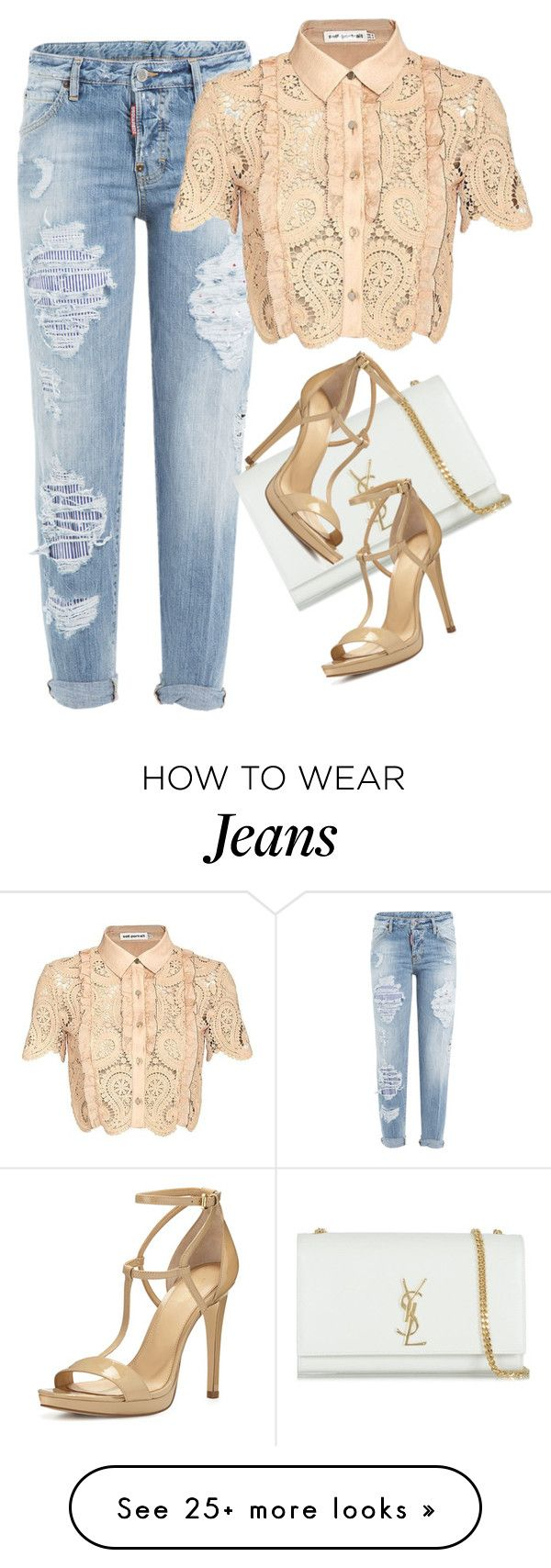 """""""Untitled #2701"""" by misnik on Polyvore featuring Dsquared2, Yves Saint Laurent, self-portrait and MICHAEL Michael Kors"""