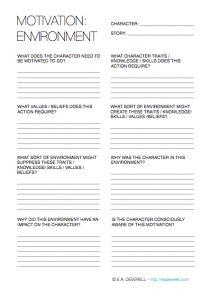 Motivation Enviroment Creative Writing Worksheet