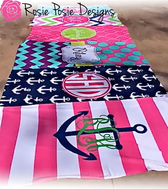 Personalized Beach Towel Light Weight Design by rosieposiedesigns, $35.00
