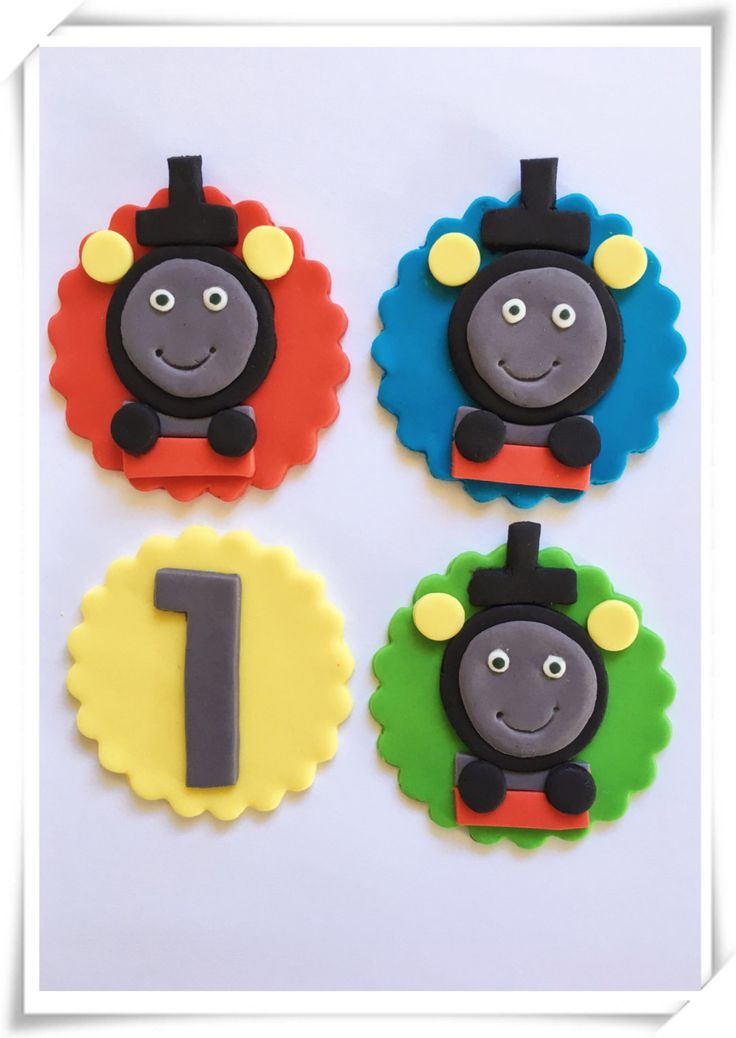 Set of 12 Thomas the Tank cupcake toppers by SugaryLand on Etsy