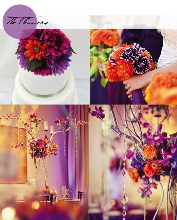 Hot Fall Wedding Colour Combinations 2014: Burgundy, Orange and Purple
