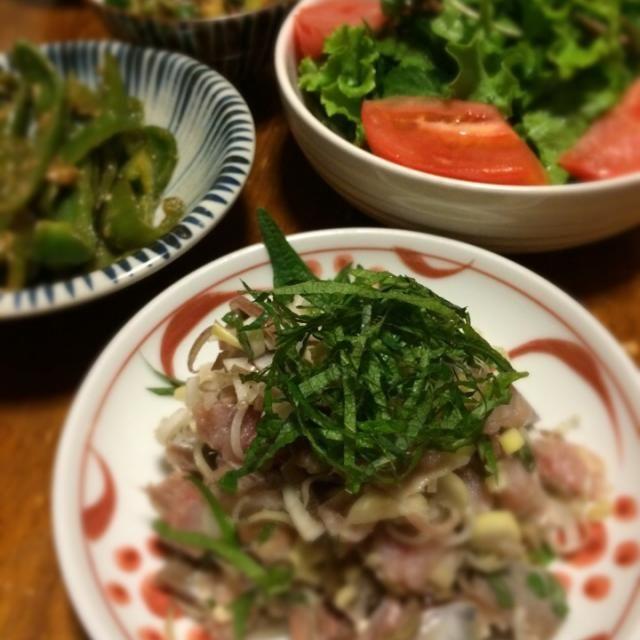 鰯のたたきには、ミョウガをたくさん入れた。 - 12件のもぐもぐ - 鰯のたたき、ピーマン味噌炒め、クレソンのサラダ、山形だし by raku0dar