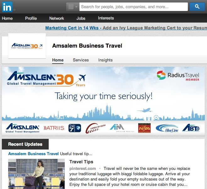Amsalem Business Travel (Israel) features the Radius Travel member logo on their LinkedIn company profile.