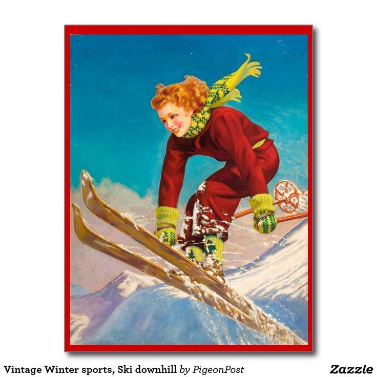 Carte Postale Sports d'hiver vintages, ski en descendant | Zazzle.fr (avec images) | Sport d ...