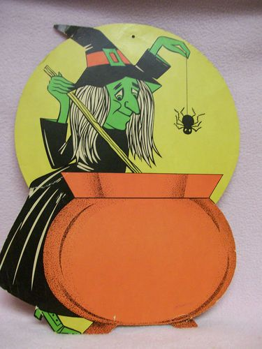 sale retro halloween cardboard witch and cauldron die cut halloween decoration