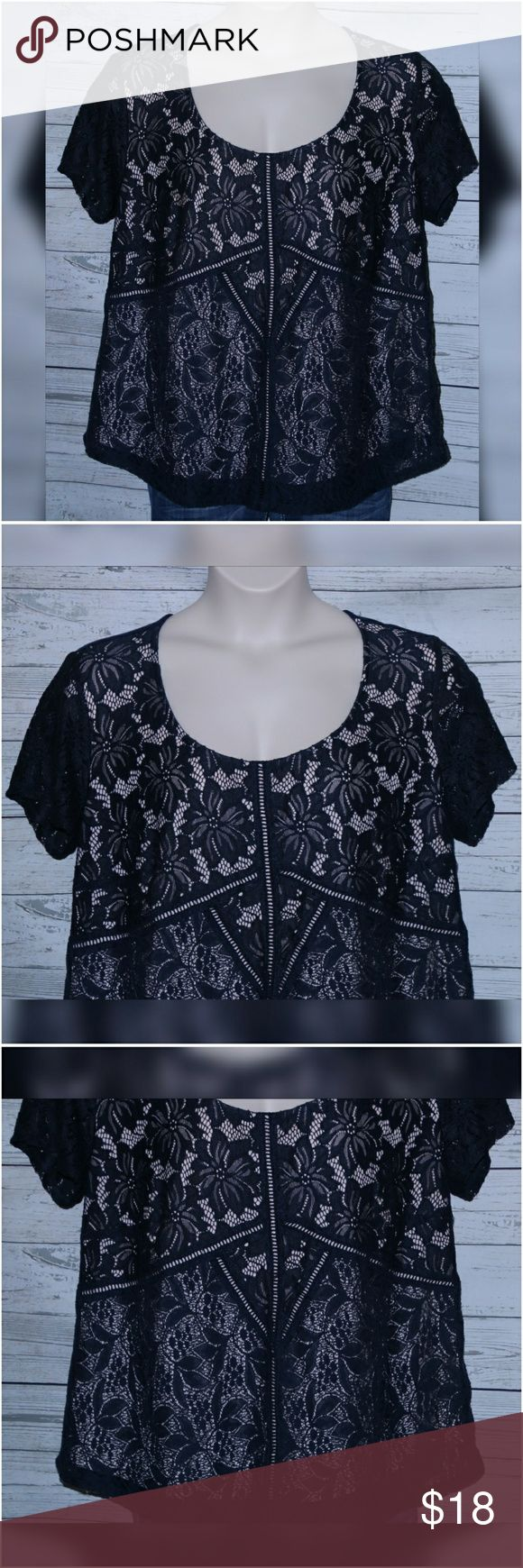 """Maurices Plus Size 1 1X Navy Blue Lace Top Maurices Women's Plus Size 1 1X Navy Blue Sheer Lined Lace Top Short Sleeve Shirt  All measurements are approximate and  taken unstretched and laying flat.   Chest: 45""""  Length: 26""""  Sleeve: 10""""   EUC no rips or stains-Worn once  Pants NOT included.   If you have any questions, please don't  hesitate to send me a message.  Please feel free to check out the other  items listed in my store.   Note to Buyers:  **Colors may vary slightly from photos of…"""
