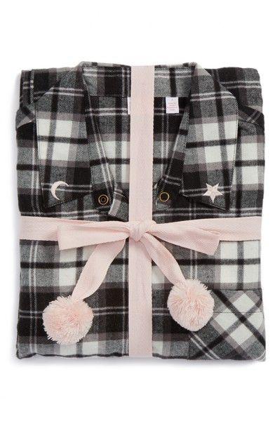 CHARLOTTE Make + Model Flannel Girlfriend Pajamas - Black Mm Plaid ... 143cfbdb3