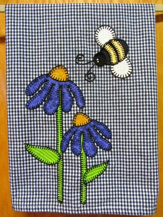 Buy Flower Applique Kitchen Towel, Dish Towel, Hand Towel, Tea Towel by rkymtncrafts. Explore more products on http://rkymtncrafts.etsy.com