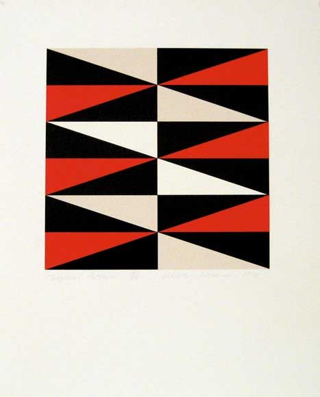 contrast: bright , colours: red , white and black , Patterns , triangular shape , Repetition., Symmetry.