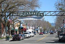 Pleasanton sign on Main Street. Before the establishment of Pleasanton, in the 1850s, an earlier settlement, called Alisal was there. It was located on the lands of the Rancho Santa Rita near the site of an Indian ranchera, around the Francisco Solano Alviso Adobe, called El Alisal (The Sycamores),...