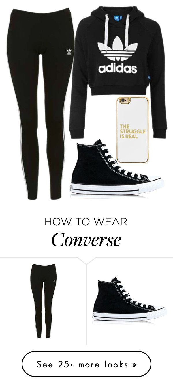 """Adidas swag"" by nmdejager on Polyvore featuring Topshop, adidas Originals, Converse and BaubleBar"