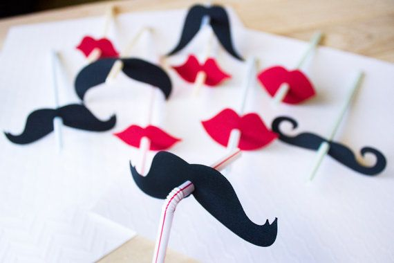 Set of 10 Lip and Mustache Straws // Mustache Party Decor //