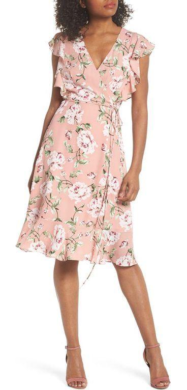 bd741380d1a flutter sleeve wrap dress by Charles Henry. Garden roses delight on this  feminine wrap dress