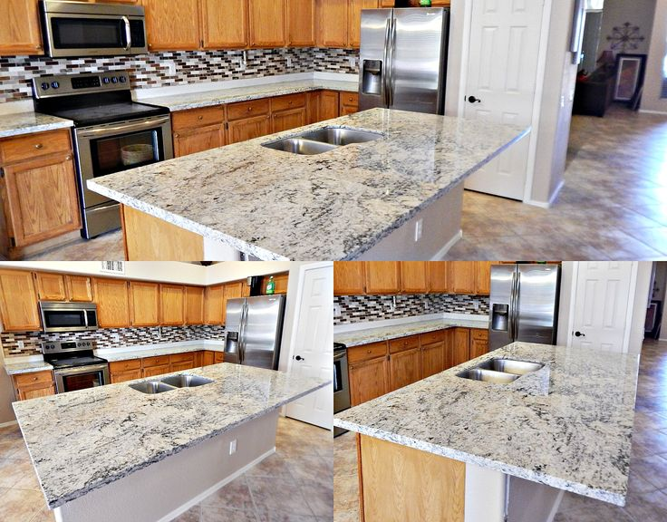 White Ice Granite Remodel In Phoenix, With Flat Polish Edge And A Stainless  Steel Sink.