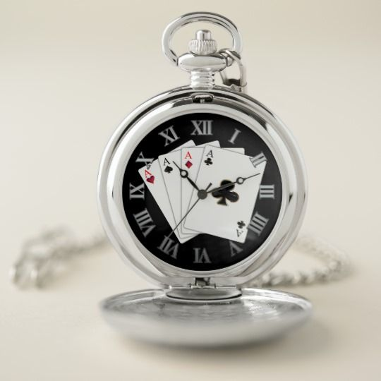 Four Aces Playing Cards Pocket Watch