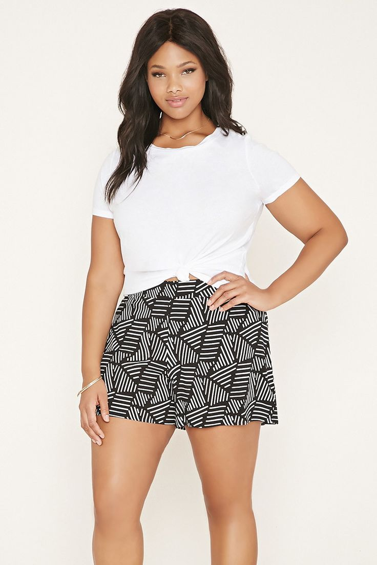 Plus Size Abstract Print Shorts | Forever 21 PLUS - 2000186687