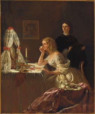 A Young Lady at her Toilet (oil on canvas).  First, it was toilette tables, then, it was dressing tables, and now, it is vanities.