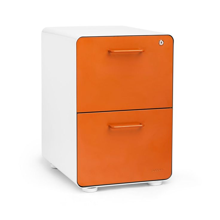 White + Orange Stow 2-Drawer File Cabinet,Orange,hi-res