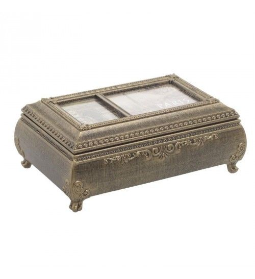 POLYRESIN MUSIC BOX IN BRONZE COLOR 18X11_5X7