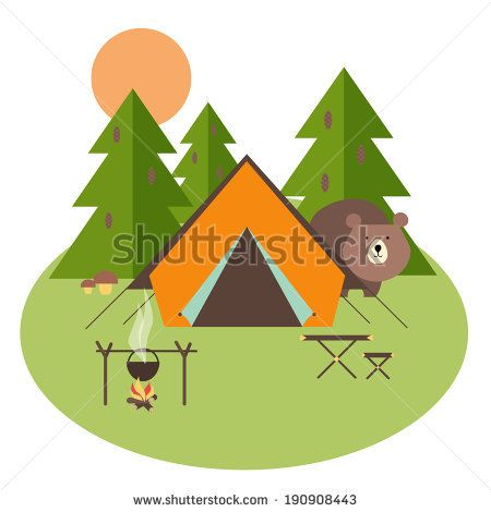 Camping in forest with tent, trees and bear, vector eps10 illustration by Neyro, via Shutterstock