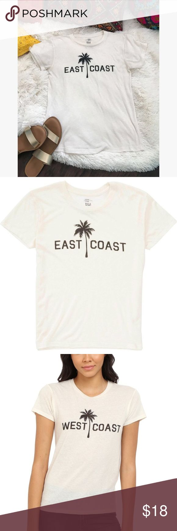 Billabong East Coast Palm Tee in white so we all know the east coast is the beast coast! rep your coast in this super cute and comfy boyfriend tee by Billabong. wear with your favorite shorts or flare pants for the perfect surfer chic outfit. excellent condition billabong east coast palm tee in white... great condition with no rips or stains. size women's small. fits like shown on model in the last photo. Billabong Tops Tees - Short Sleeve