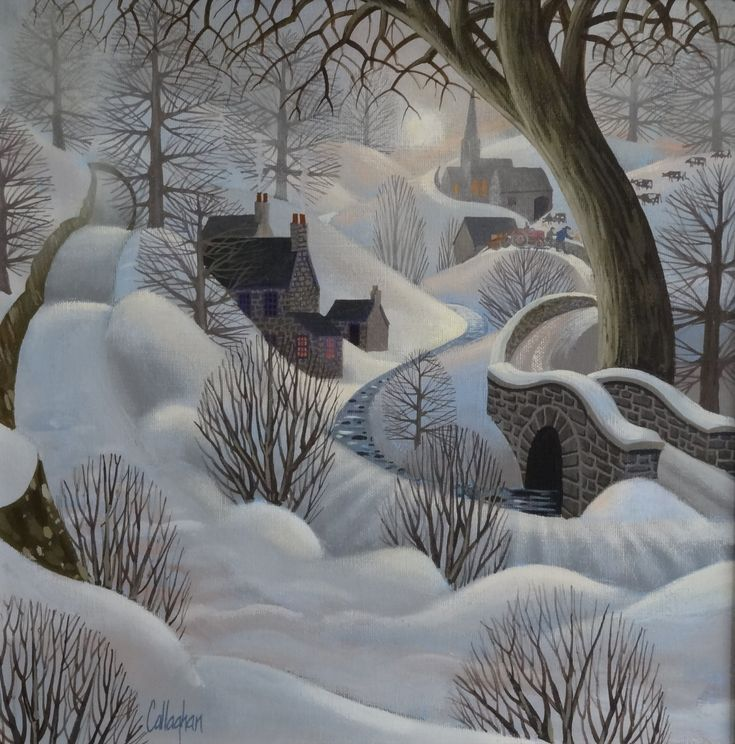 George Callaghan winter nature woodland art countryside snow village hidden