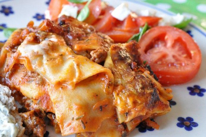 Lækker lasagne med gulerødder, squash og hvidvin