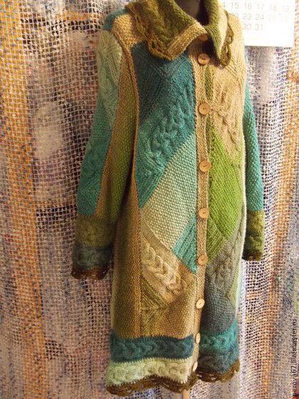 Верхняя одежда ручной работы. Ярмарка Мастеров - ручная работа. Купить Пальто вязаное Лесная зелень. Handmade. Зелёный