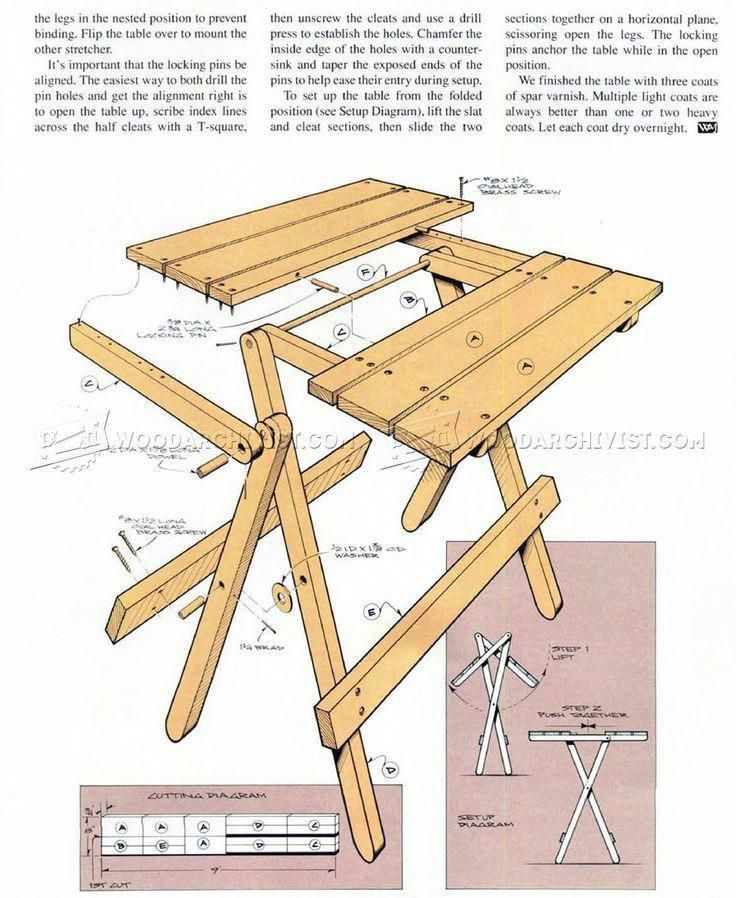 288 Folding Table Plans Outdoor Furniture Plans This Looks Like The Table Moe Made Me I Use It All Table Plans Woodworking Furniture Plans Camping Table