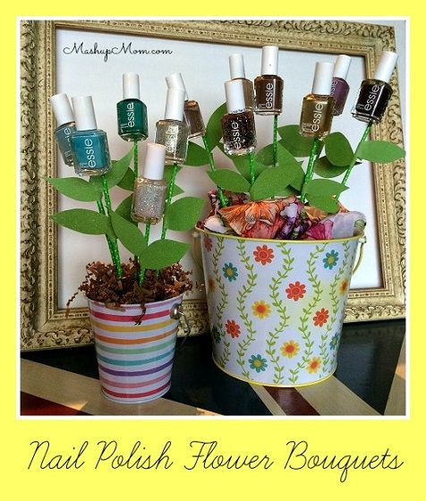 Easy DIY Nail Polish Flower Bouquet -- Great spring gift idea! Use clearance Easter pails + the free nail polish from drugstore deals across the year for a frugal DIY gift.