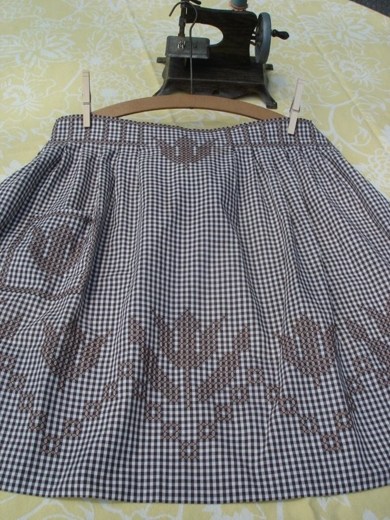 Vintage Apron - Brown Gingham Embroidery.........Inspired cross stitch (photo for ideas only)