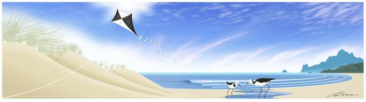 """Poaka Moana"" Pied Stilts on Ocean Beach. Digital art-print by Terry Fitz., 2013."
