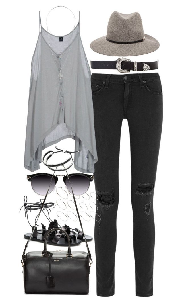 """Outfit for spring coffee date"" by ferned ❤ liked on Polyvore featuring rag & bone, Cheap Monday, Janessa Leone, ASOS, Miss Selfridge, Ancient Greek Sandals, Yves Saint Laurent, Links of London, B-Low the Belt and polyvorefamebabe"