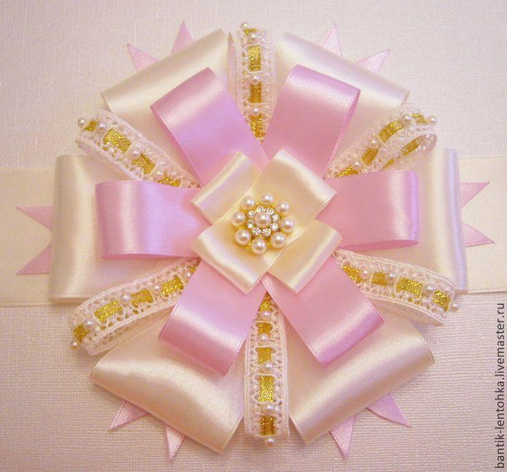 """Купить Бант на выписку из роддома """"Моё сокровище - айвори + розовый"""" - розовый, для новорожденных, для новорожденной"""