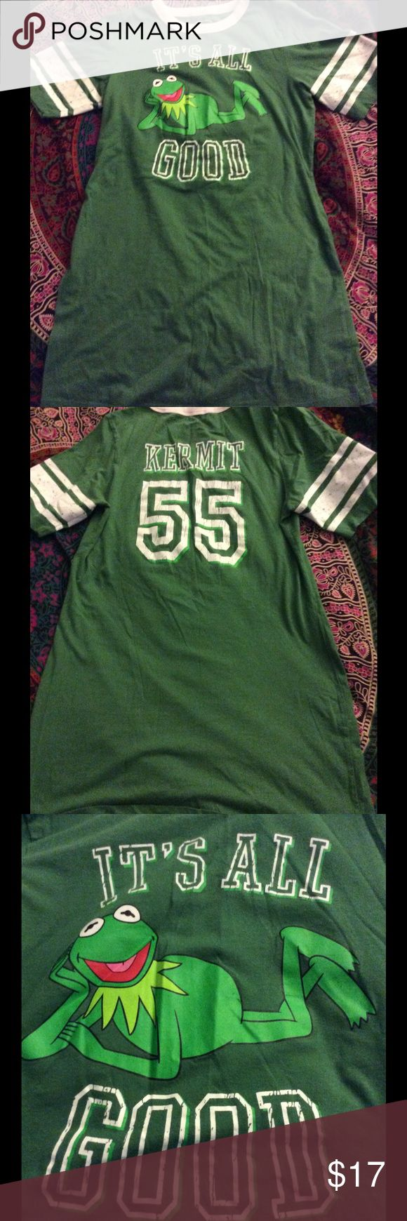 """Kermit Graphic T Shirt Dress Kermit T Shirt Dress  Jrs SZ M but S for Women Great Clean Preloved condition  Please check measurements to ensure best fit Pit to pit - approx 16.5 laying flat unstretched  Length - approx 29"""" Dresses Mini"""