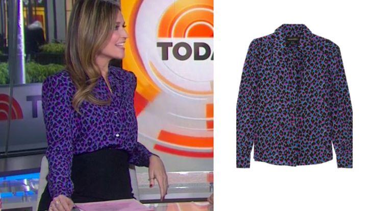 Purple on the Prowl! Get details on Savannah Guthrie's Purple Leopard Print Blouse here: https://www.bigblondehair.com/savannah-guthries-purple-leopard-print-blouse/ #Today #TodayShow Today Show Fashion