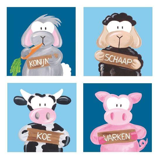 4-luik kinderschilderijtjes schaap, konijn, koe, varken. www.beessies.com