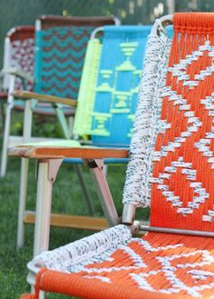 Folding Lawn Chairs with cute patterns-Do you have any of these laying around?