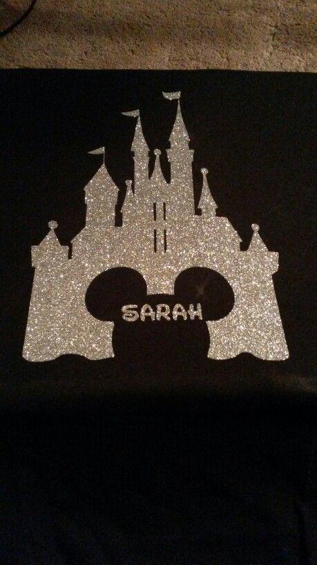 Magic Kingdom Shirts. Vinyl, heat press, silver glitter with Mickey head outline.