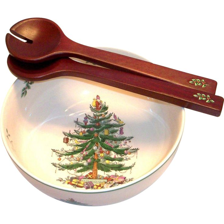 Spode Christmas Tree Candle Holder: Spode Christmas Tree Round Salad Bowl & Servers (With