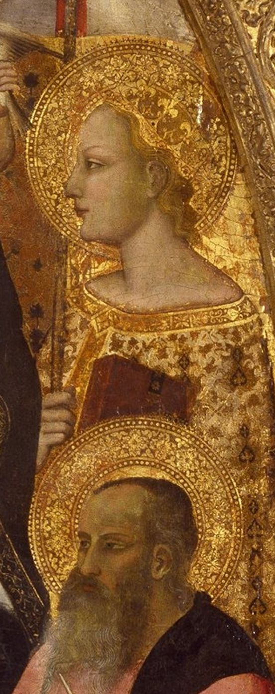 Nardo di Cione, Madonna and Child Enthroned with Saints, detail