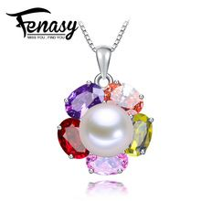FENASY sterling silver cultured freshwater Pearl Pendant Necklace Natural real genuine Pearl Silver Pendant Free Shipping(China (Mainland))