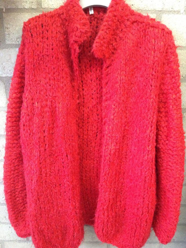 Red handknit Kiro by Kim cardigan