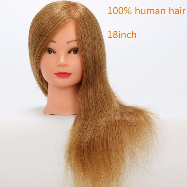 """18"""" 100% Real Hair Salon Mannequin Head Practice Training Hairdressing Gold Wig #Unbranded"""